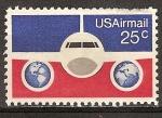 Sellos de America - Estados Unidos -  Correo aéreo (Plano y globos terráqueos).