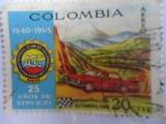 Sellos del Mundo : America : Colombia : Automovil Club de Colombia -Fia-Fitac-Ait-Bogotá(1940-1965)25 años de servicio.Automovilismo