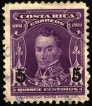 Sellos del Mundo : America : Costa_Rica : Simón Bolívar. UPU 1921. sobreimpreso