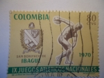 Stamps of the world : Colombia :  IX Juegos Atléticos Nacionales- San Bonifacio de Ibagué-1970.