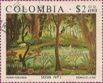 "Stamps of the world : Colombia :  Pinturas de Colombia Colonial y Moderna. ""Selva No 1"" de Roman Roncancio."