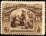 Stamps America - El Salvador -  Los reyes reciben a Colón.