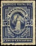 Stamps El Salvador -  Mujer con bandera. UPU 1887.
