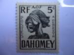 Stamps : Africa : Benin :  Cabeza de Estatua-Reino de Dahomey (República de Benin)-África Occidental Francesa.