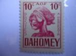 Stamps : Africa : Benin :  Reino de Dahomey (República de Benin)-Cabeza de Escultura- -África Occidental Francesa.