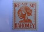 Stamps : Africa : Benin :  Cabeza de Escultura - Reino de Dahomey (República de Benin) - África Occidental Francesa.