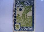Sellos de America - Francia -  Territoire Guyana- Nativo cazador - Guyane Française.