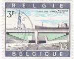 Sellos del Mundo : Europa : Bélgica : Amberes- Tunel John F. Kennedy