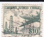 Stamps Chile -  Avión y pozos de petróleo