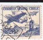 Stamps Chile -  avión y figura Moai