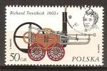 Sellos del Mundo : Europa : Polonia : Richard Trevithick y su locomotora de 1803.