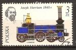 Sellos del Mundo : Oceania : Polonia : Joseph Harrison y su locomotora, 1840.