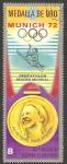 Stamps Africa - Equatorial Guinea -  Medalla de oro en Munich 72, M. Peters en Pentathlon
