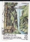 Sellos de Africa - Guinea Ecuatorial -  Cascada en la selva