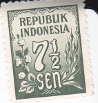 Stamps Indonesia -  Flora y cifras