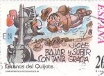 Sellos de Europa - España -  Escenas del Quijote-VIOLE BAJAR Y SUBIR CON TANTA GRACIA    (H)