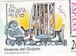 Sellos de Europa - España -  Escenas del Quijote- EL ENCANTAMIENTO    (H)