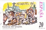 sellos de Europa - España -  Escenas del Quijote-LOS GALEOTES    (H)