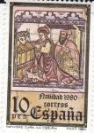 Stamps Spain -  (H)NAVIDAD- 1980- Mural gótico de la iglesia de Santa maría de Cuiña en Oza de los Ríos (La Coruña)