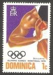 Sellos del Mundo : America : Dominica : 472 - Olimpiadas de Montreal, lanzamiento de peso
