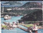 Stamps Panama -  Congreso Universal del Canal de Panamá -Esclusas de Miraflores
