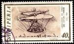Sellos del Mundo : Europa : Albania : Leonardo da Vinci, 450 aniv. fallecimiento. Diseño de helicóptero.