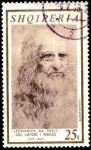 Stamps : Europe : Albania :  Leonardo da Vinci, 450 aniv. fallecimiento. Autoretrato.
