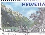 Stamps Switzerland -  Homenaje al General Suworow-Paisaje de los Alpes