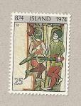 Sellos de Europa - Islandia -  Ilustración libro Flatey