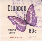 Stamps Ecuador -  Mariposas -Morpho Cypris