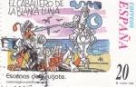 sellos de Europa - España -  Escenas del Quijote- EL CABALLERO DE LA BLANCA LUNA     (j)