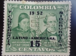 Stamps of the world : Colombia :  Conferencia Latino-Americana  Siderurgica (José C.Mutis y José J.Triana)