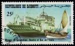 Sellos del Mundo : Africa : Djibouti : Moyens de Locomotion.Boutre et bac de L`Unité.