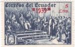 Sellos de America - Ecuador -  Cristobal Colón presentando indígenas