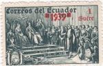 Stamps Ecuador -  Cristobal Colón presentando indígenas