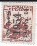 Sellos de America - Ecuador -  Timbre telegráfico- sobreestampado pro-turismo