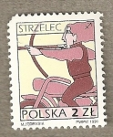 Sellos del Mundo : Europa : Polonia :  Arquero en moto