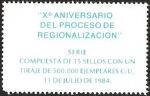 Sellos de America - Chile -  X° ANIVERSARIO DEL PROCESO DE REGIONALIZACION