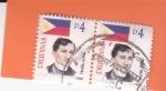 Sellos de Asia - Filipinas -  Bandera Nacional - y Jose Rizal, médico, escritor y héroe filipino
