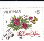 Stamps Philippines -  Flores y mariposa -Love you