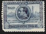 Stamps Spain -  Rey Alonso XIII y vista de Barcelona