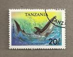 Stamps Tanzania -  Pez Isurus oxyrinchus
