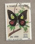 Sellos del Mundo : Africa : Santo_Tomé_y_Principe : Mariposa  Papilio Arcas-mylotes