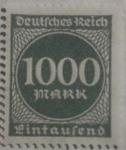 Stamps Europe - Germany -  deutfches reich eintaufend  1922