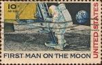 Stamps : America : United_States :  Aterrizaje Lunar. Primer Hombre en la Luna.