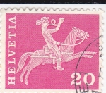 Stamps : Europe : Switzerland :  Jinete con corneta