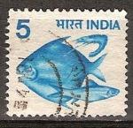 Sellos del Mundo : Asia : India : Japuta,Hilsa y gamba.