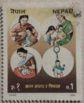 Sellos de Asia - Nepal -  infancia nepal 1989