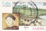 Sellos de America - Cuba -  UPAE -Colón y paisaje
