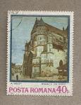 Stamps Romania -  Pintura iglesia por A. Sisley